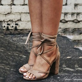 Ericdress Open Toe Cross Strap Chunky Heel Sandals