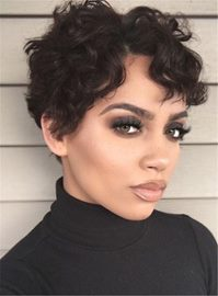 Ericdress Boycut Curly Pixie Short Synthetic Hair Lace Front African American Wigs 6 Inches