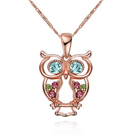 Ericdress Owl Pendant Colored Gem Inlay Charm Necklace