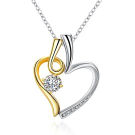 Ericdress Exquisite Round Cut White Sapphire Heart Necklace