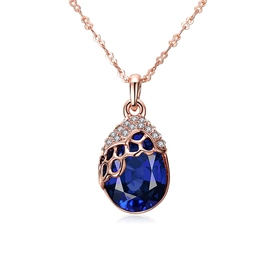 Ericdress Blue Sapphire Diamante Pendant Necklace