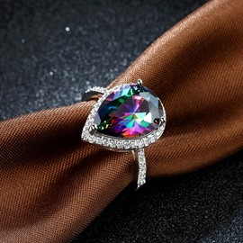 Ericdress Colorful Waterdrop Sapphire Wedding Ring