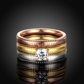 Ericdress Three Layers Titanium Steel Wedding Ring