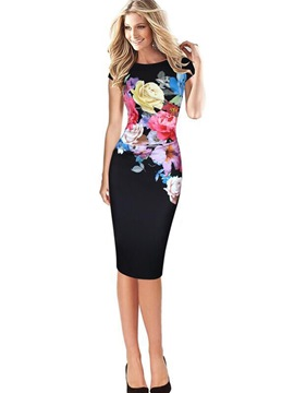 Ericdress Print Short Sleeve Slash Neck Bodycon Dress