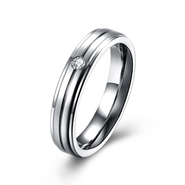 Ericdress Titanium Steel Series Diamante Ring for Women