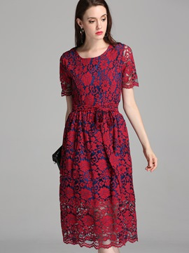 Ericdress Crochet Round Neck Lace-Up Lace Dress
