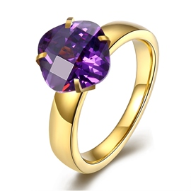 Ericdress Splendid Diamond-Shaped Amethyst Ring