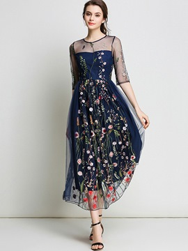 Ericdress Mesh Embroidery High-Waist Maxi Dress