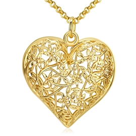 Ericdress Hot Hollow Out Heart Pendant Necklace