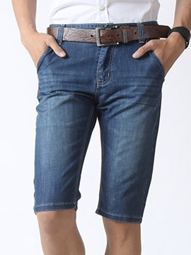 Ericdress Half Legs Denim Straight Men's Shorts