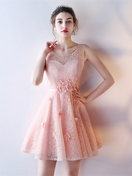 Ericdress Short A Line Flower Lace Homecoming Dress With Lace-Up Back