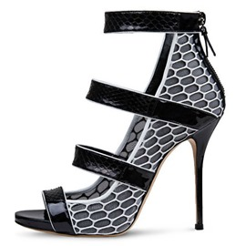 Patchwork Hollow Stiletto Heel Sandals