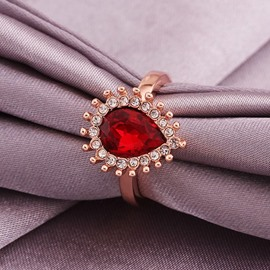 Ericdress Waterdrop Ruby Inlay Rose Gold Wedding Ring