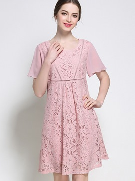 Ericdress Sweet Hollow Flare Sleeve Lace Dress