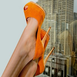 Ericdress Orange Peep Toe Platform Stiletto Heel Pumps