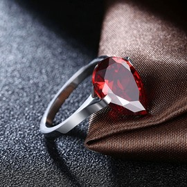 Ericdress Waterdrop-Shaped Ruby Inlay Wedding Rings