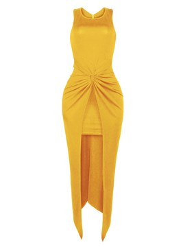 Ericdress Plain Front Knotted Pleated Split Maxi Dress