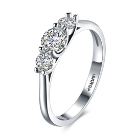 Ericdress Three White Sapphire Six-Prong Ring for Women