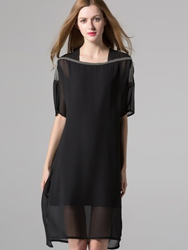 Ericdress Plain Square Neck See-Through Casual Dress
