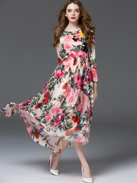 Ericdress Flower Print Pleated Chiffon Flowy Maxi Dress