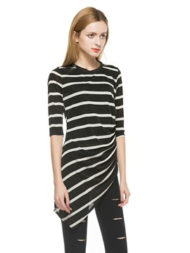 Ericdress Striped Irregular Slim T-Shirt