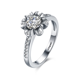 Ericdress Flower Design White Sapphire Inlay Wedding Ring