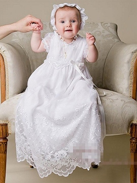 Ericdress Cute Baby-Girl's Christening Baptism Dress with Bonnet