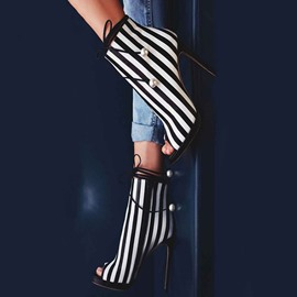 Stripe Beads Peep Toe Pumps