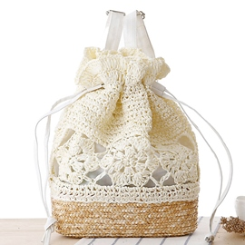 Ericdress Casual Handmade Crochet Straw Drawstring Bag