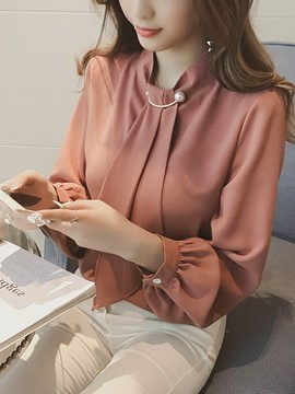 Ericdress Plain Tie Lantern Sleeve Blouse