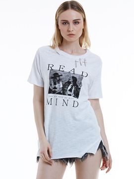 Ericdress Loose Letter Print Ripped Women's T-shirt