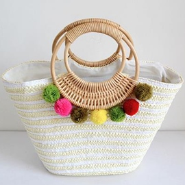 Ericdress Colorful Fuzzy Ball Knitted Straw Handbag