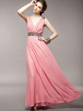 Ericdress BeadV-Neck Sleeveless ChiffonExpansion Maxi Dress