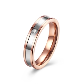 Ericdress Concise Titanium Steel Rose Gold Diamante Ring