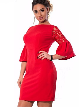 Ericdress solide farbe flare hülse hohle bodycon kleid