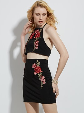 Floral Embroidery Backless Women's Skirt Suit