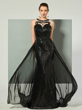 Ericdress Jewel Neck Sequin Beaded Mermaid Evening Dress With Sweep Train