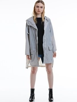 Ericdress Plain Drawstring Hooded Women's Trench Coat