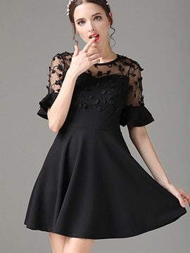 Ericdress Ruffle Sleeve Mesh Patchwork A Line Dress