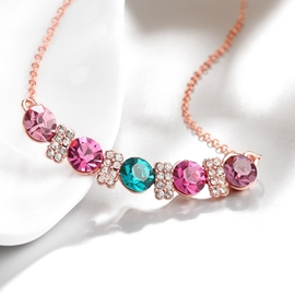 Ericdress Splendid Round Cut Colored Rhinestone Necklace