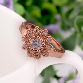 Ericdress Flower-Shaped Diamante Wedding Ring for Women