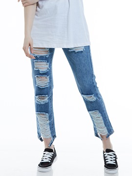 Slim Worn Ripped Straight Women's Jeans