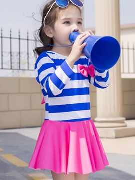 Ericdress Stripe Long Sleeve Girls One-Piece Swimwear Dress
