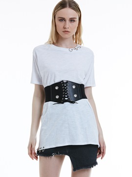 Ericdress Loose Mid-Length Buckle Patchwork T-shirt