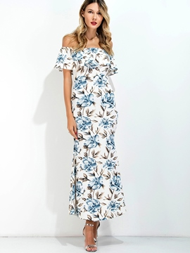 Ericdress Slash Neck Floral Back-Slit Maxi Dress