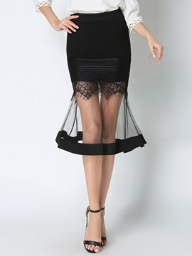 Ericdress Mid-Calf See-Through Mermaid Column Skirts