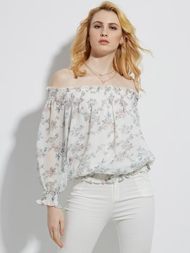 Ericdress Slash Neck Flower Print Womens Blouse