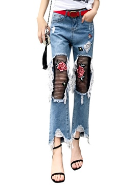 Ericdress Low Waisted Worn-Out Flower Print Women's Jeans