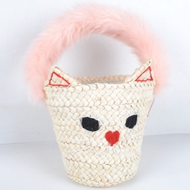 Ericdress Versatile Cat Knitted Bucket Straw Handbag