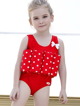 Ericdress polka dots one-piece bow girls flottaison maillot de bain